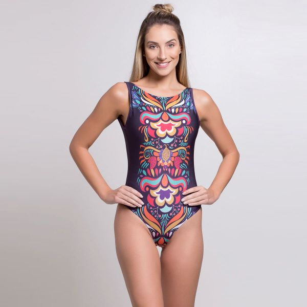 Body Estampado Fiji com Decote nas Costas