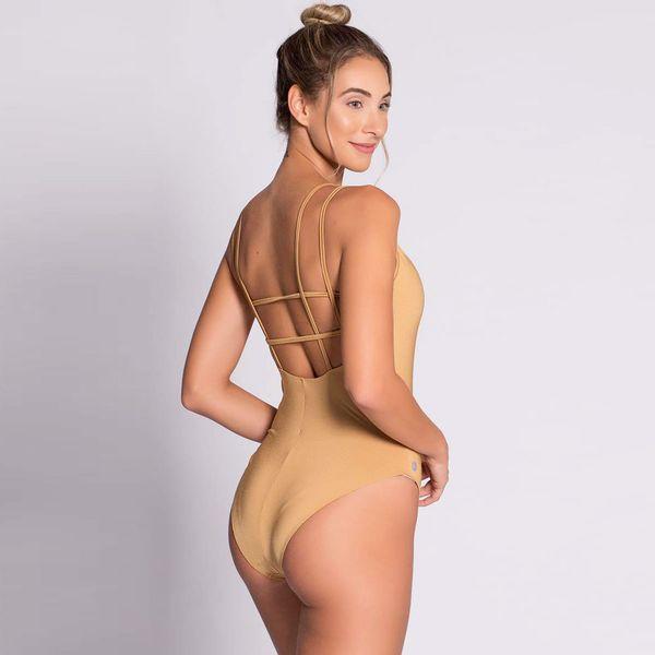 Body Dourado com Tiras nas Costas