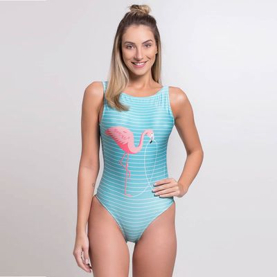 Body com Bojo Estampa Flamingo