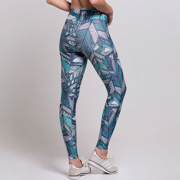 Legging Estampada Penas Abstratas