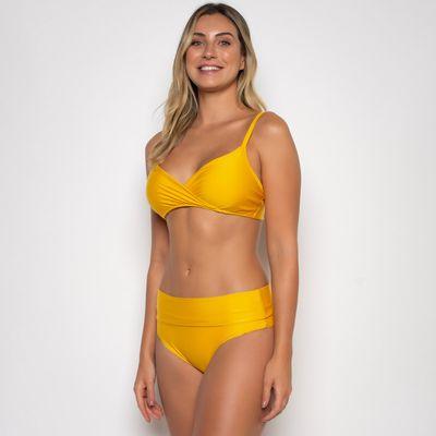 Biquíni Transpassado com Calcinha Cós Alto Amarela