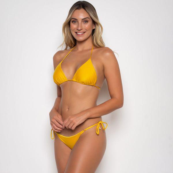 Biquíni Cortininha com Calcinha de Lacinho Amarela