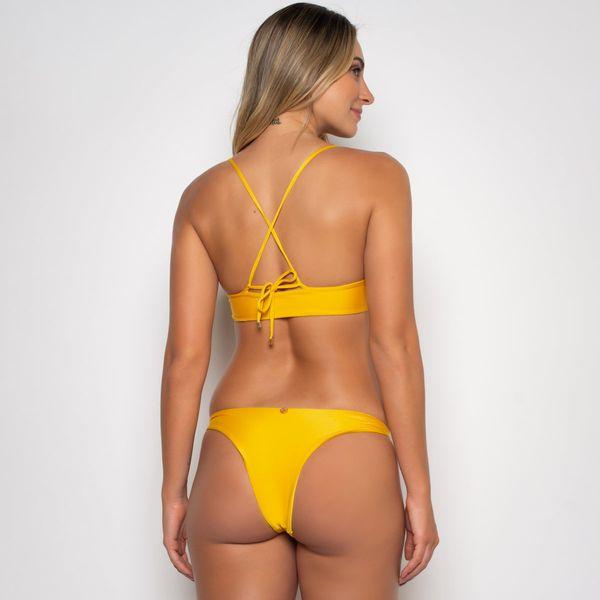 Biquíni de Amarrar com Bojo e Calcinha Básica Amarela