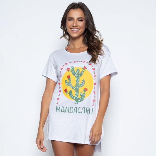 Blusa Alongada com Fenda Mandacaru
