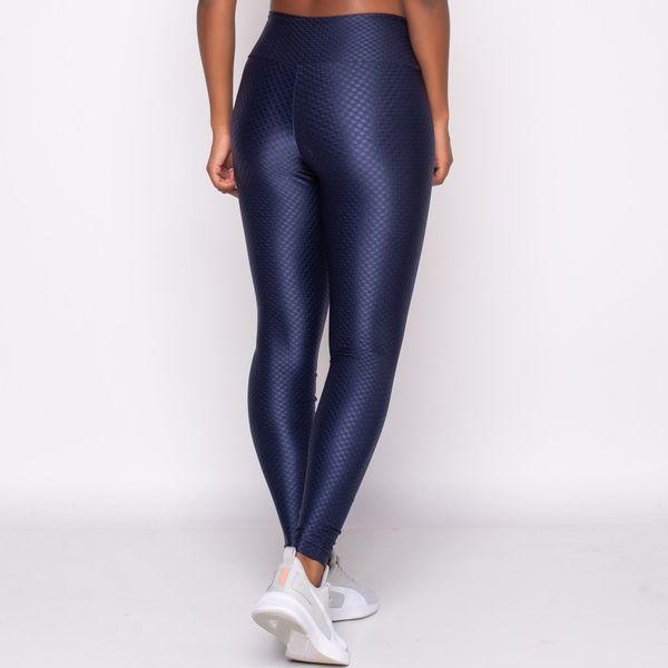 Legging com Textura Azul Marinho