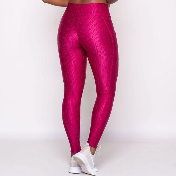 Legging Texturizada com Bolso Lateral Rosa
