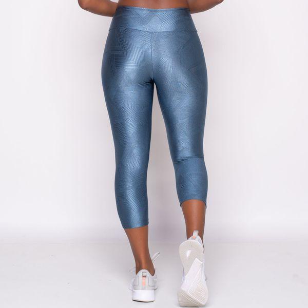 Calça Corsário Texturizada Azul