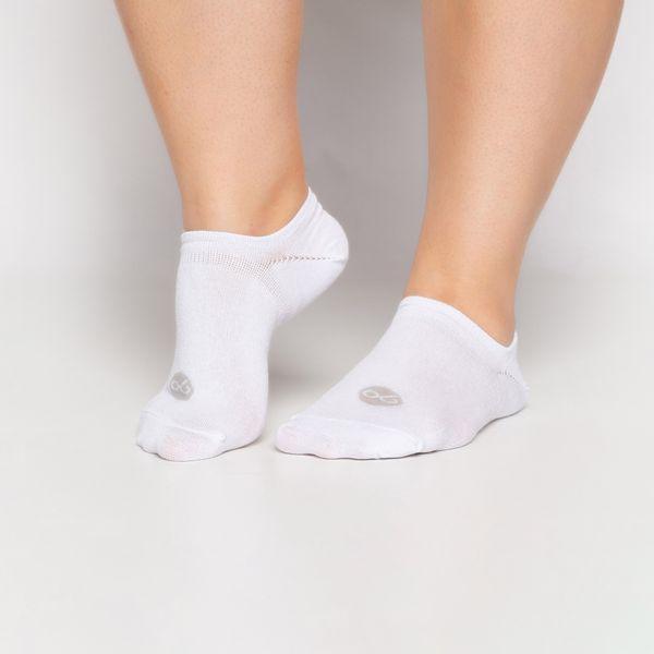 Meia Micro Invisível Branca com Elastano