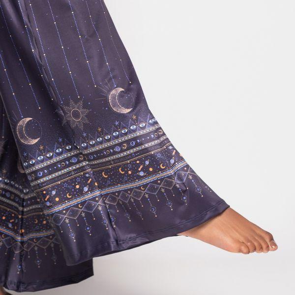 Pantalona com Bolso Estampa Conexão